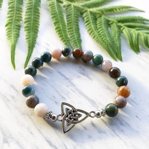 Silverskylight Jewelry - Genuine indian agate celtic knot bead bracelet